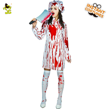 New Bloody Butchers Costumes Women Halloween Masquerade Party Thrilling Killer Cosplay Clothing with Whole-body Bloodstain