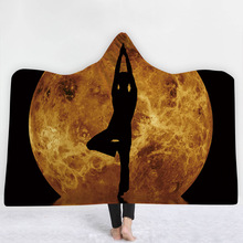 Buddha Statue Hooded Blanket For Home Travel Picnic Wearable Warm Sofa Europe Soft Fleece Throw Adults