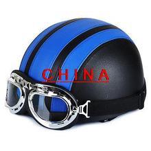 Синий и Черный Мотоцикл Скутер ПУ Кожа Открытым Лицом Половина Шлем ж/Козырек + Очки *