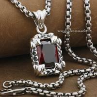 Linsion Флер де Лис красный камень CZ стерлингового серебра 925 мужские Байкер в стиле панк-рок кулон 9F020