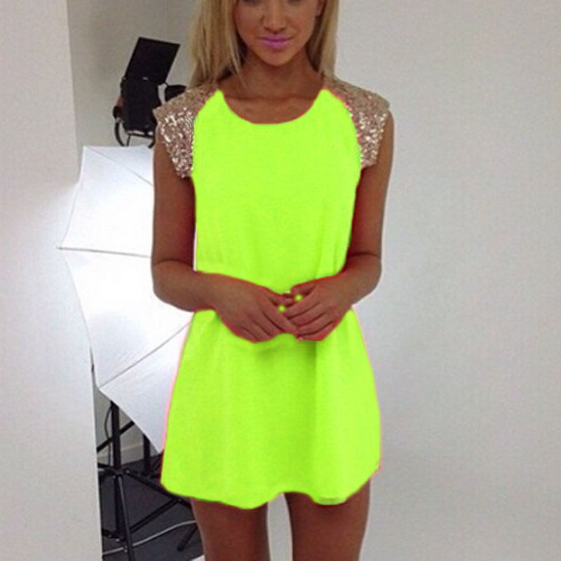 Aliexpress.com : Buy Summer Sexy Dress Bling sequins Neon Short ...