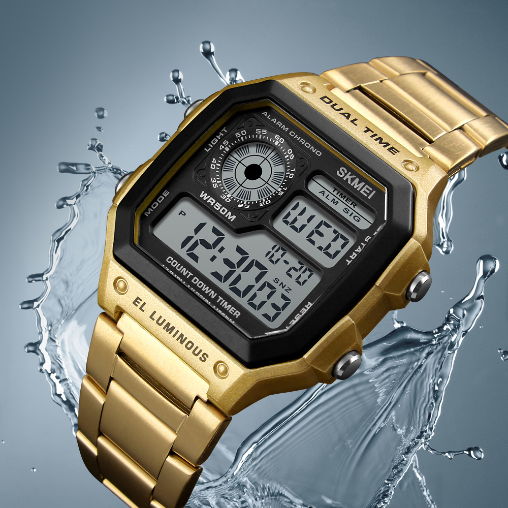 Digital Watch Stainless Steel Waterproof Clock 1
