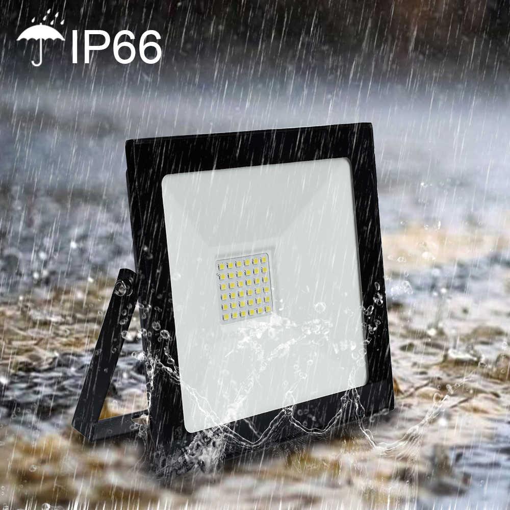 2018 LED de luz de inundación 50 W 110 V 220 V Reflector 10 W 20 W 30 W LED foco Reflector LED iluminación al aire libre Jardín de la lámpara más