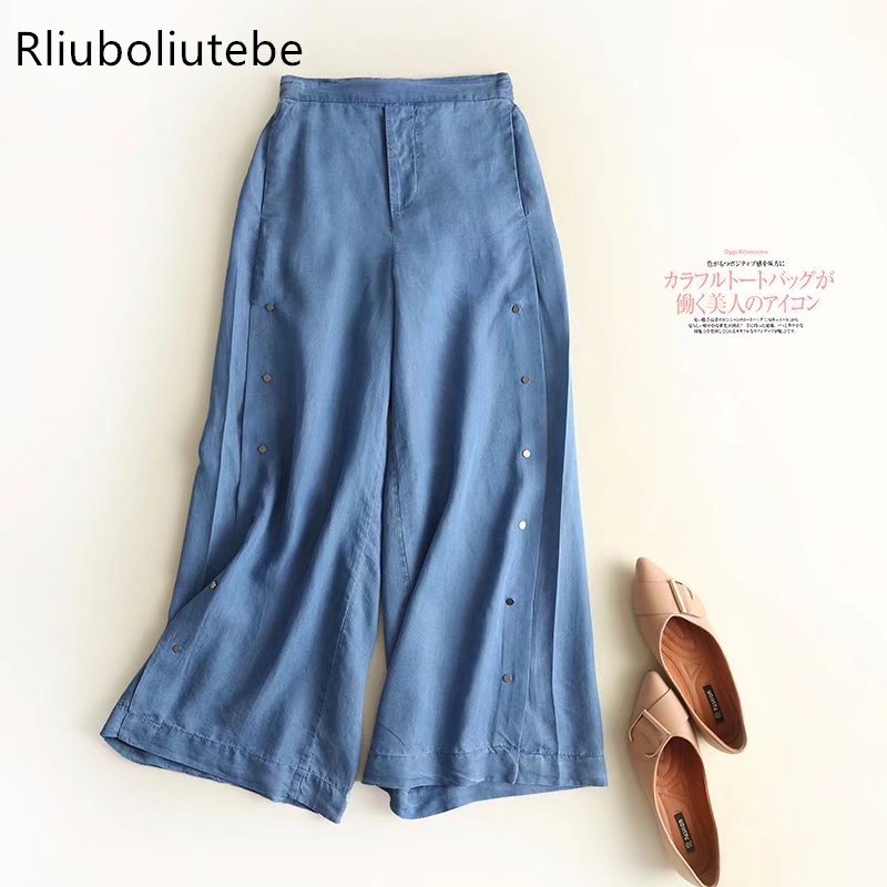 new product 9f915 da00a US $18.52 30% OFF|tecel denim wide leg pants side button blue Jeans loose  palazzo pants elastic waist casual spring wide leg pants summer-in Pants &  ...