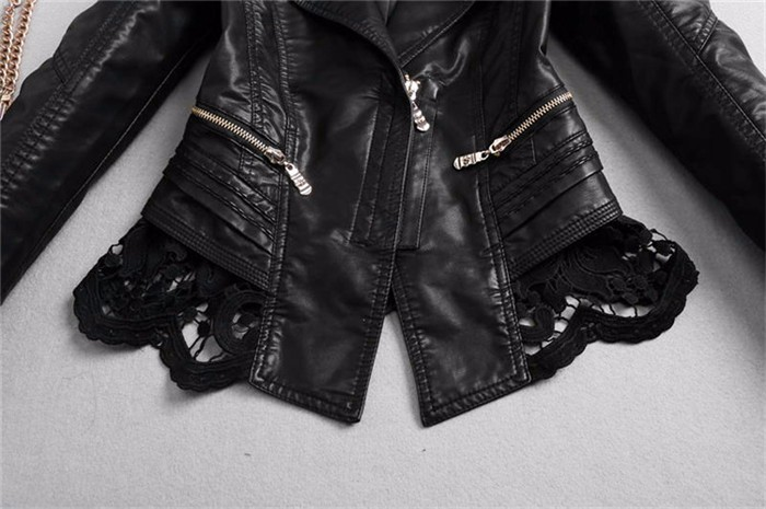 New Lady Autumn Fashion Jacket Lace Patchwork Slim Women Jacket Pu Leather V-neck Short Outwear Coat JK507 6