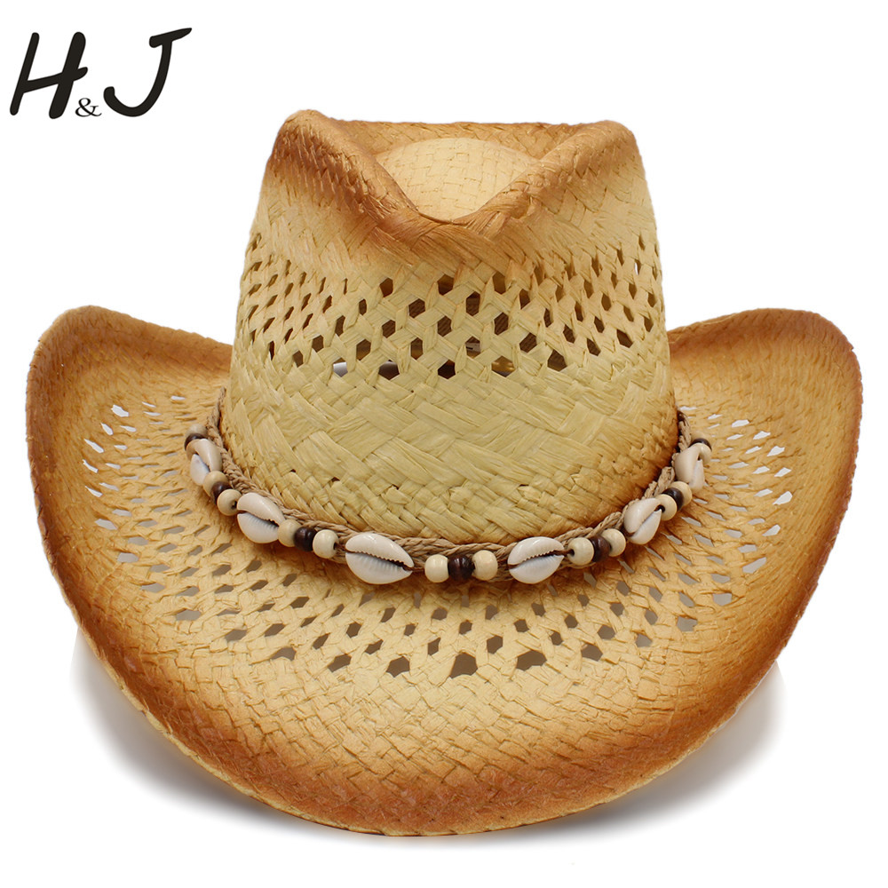 Imported From Abroad Handmade Weave Women Men Western Sun Hat With Punk Leather Band Lady Gentleman Beach Sombrero Cowboy Hat Size 58cm A0122 Numerous In Variety Apparel Accessories