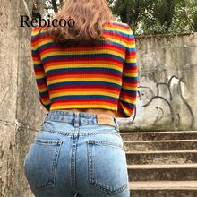 turtleneck fashion rainbow sweaters knitted pullovers women 2019new winter sweater loose pullover jumpers female female korean harajuku hong kong flavored loose rainbow stripe sweater women s pullover sweaters