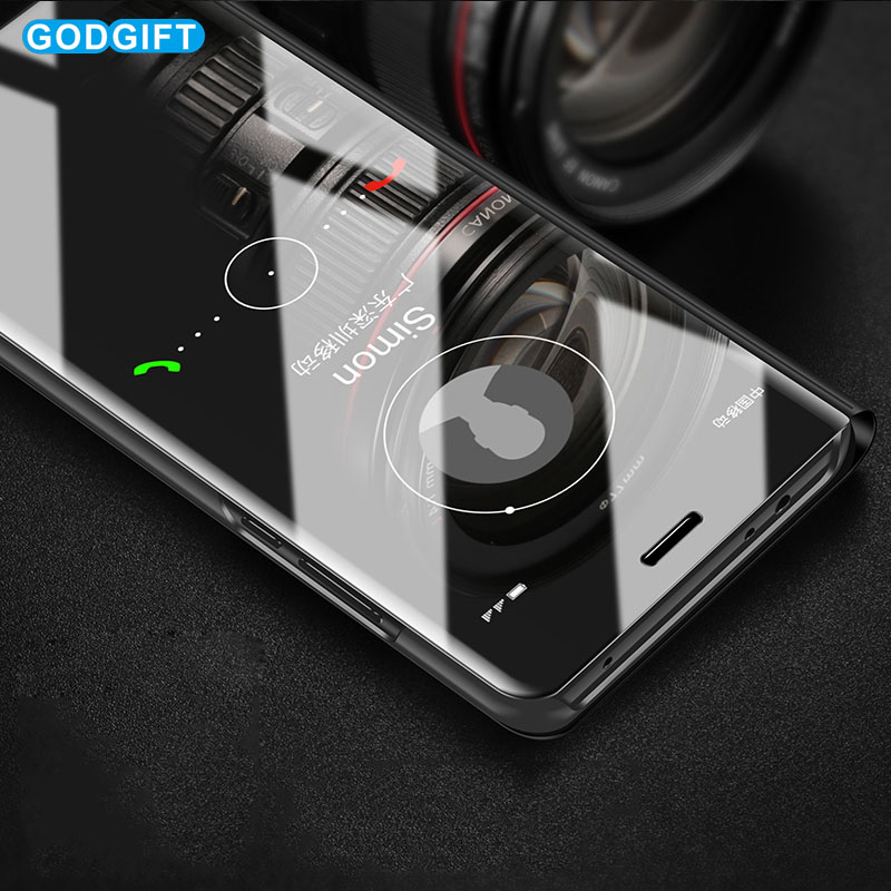 Smart View Mirror Flip Case For Samsung Galaxy S10 Plus Case S10e S8 S9 Plus S6 S7 Edge Phone Case M10 M20 Protective Cover Case