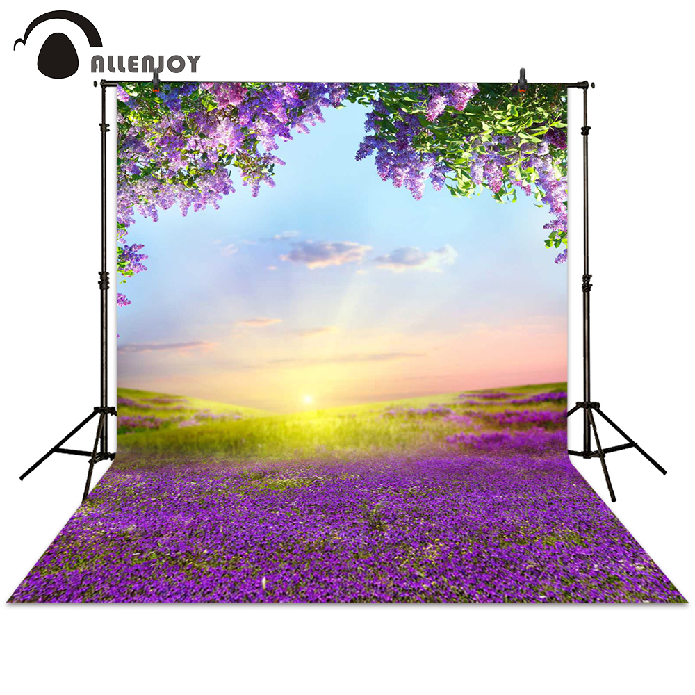 Allenjoy photography backdrops spring purple flower grass sunrise sky background photocall photographic photo studio