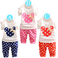 Spring 2015 new children's clothing in the first cartoon children Minnie bow dot pants suit wholesale