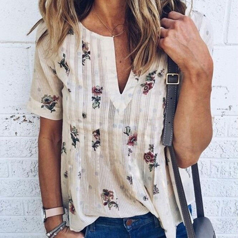 Women   Blouse   Floral V-Neck Short Sleeve Tops Plus Size 2018 Summer Fashion Women Casual Loose   Shirt   blusas feminine Female