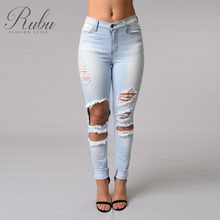 2017 spring section stretch slim feet high waisted pencil pants ripped jeans tight jeans pants