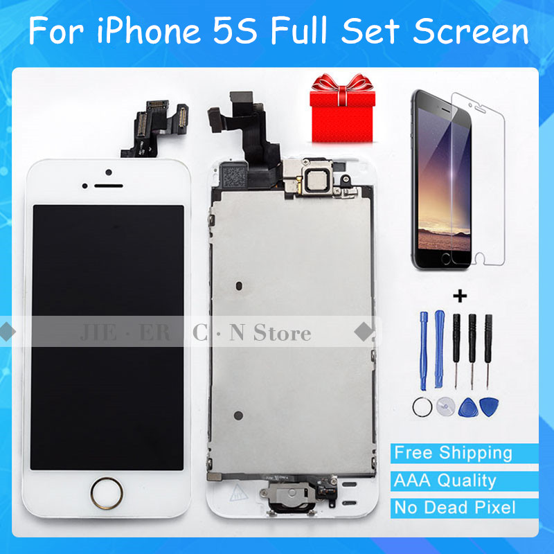 Test AAA+ LCD For iphone 5S LCD Display Touch Screen Digitizer Assembly Frame + Home Button&Front Camera +Tempered Glass elifeking 100% tested white black for iphone 4s lcd display touch screen digitizer assembly frame tempered glass free shipping