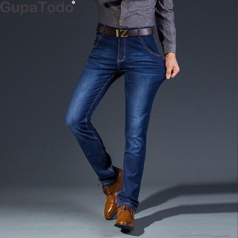 Competente Gupatodo 2019 Degli Uomini Dei Jeans Di Affari Casual Etero Slim Fit Blue Jeans Denim Stretch Pantaloni Pantaloni Classici Texture Chiara