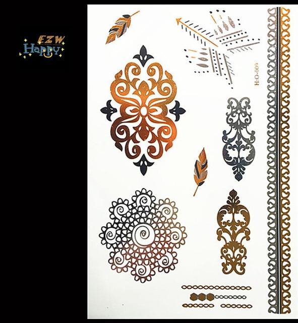 New Indian Arabic Designs Golden Silver Flash Tribal Henna Tattoo
