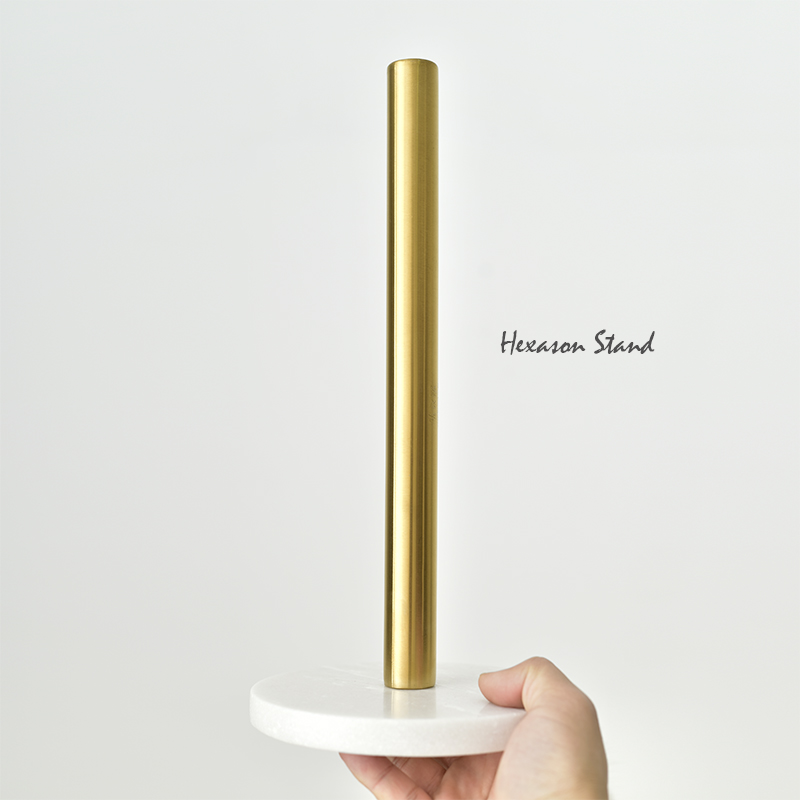 Nordic Danish marble brass paper towel holder gold plated kitchen paper towel holder Creative vertical roll