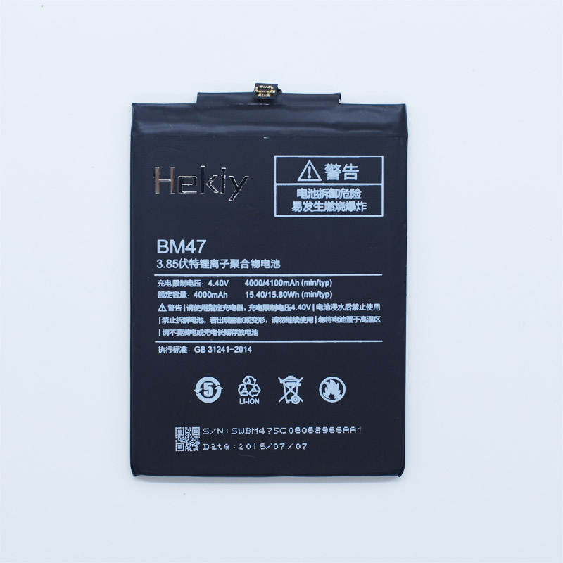 Original Hekiy Battery BM47 For <font><b>Xiaomi</b></font> <font><b>Redmi</b></font> <font><b>3</b></font> Pro 3S 3X <font><b>4X</b></font> Hongmi 4000mAh 4100mAh Replacement Mobile Phone Li-ion Batteries image