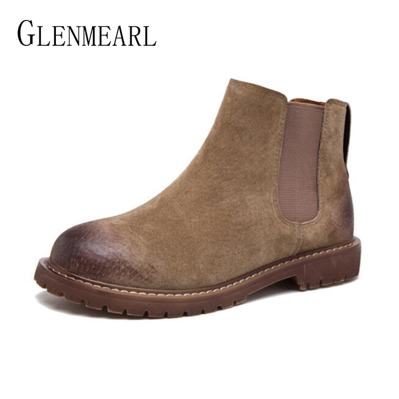 Brand Women Chelsea Boots Winter Ankle Shoes Female Genuine Leather Warm Plush Ladies Shoe Fashion Newest Round Toe Boot Woman women ankle boots handmade genuine leather woman boots autumn winter round toe soft comfotable retro boot shoes female footwear