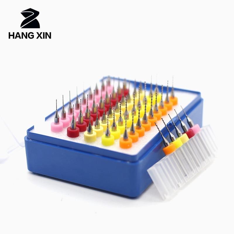 HANGXIN 50pcs Tungsten Carbide PCB Bit Set Milling Drilling Tool Circuit Board Engraving Tool 0.5 + 0.6 + 0.7 + 0.8 + 0.9mm