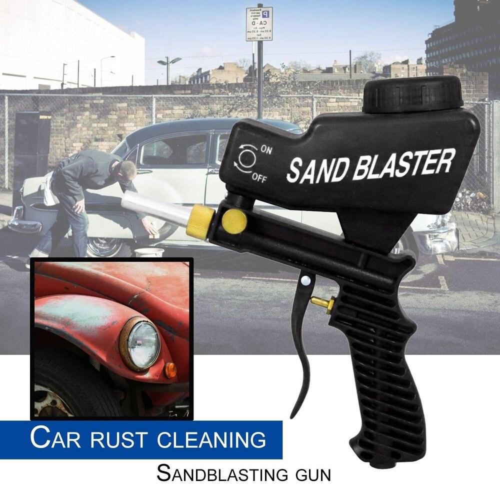 Самотеком Пескоструйная пистолет воздух Sandblast Портативный Скорость Blaster песок пистолет для удаления ржавчины пескоструйным черный