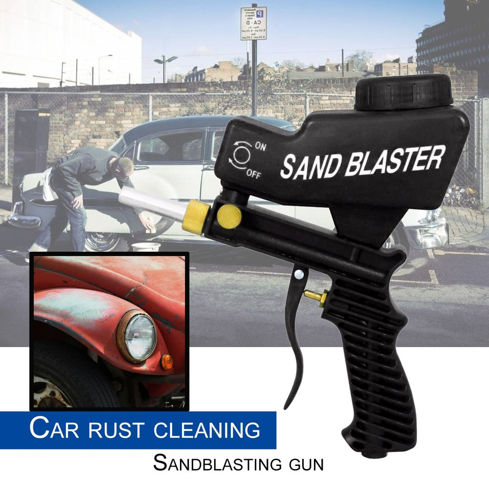 Gravity Feed Sandblasting Gun Air Sandblast Portable Speed Blaster Sand Spray Gun for Rust Removing Sandblaster Black ...