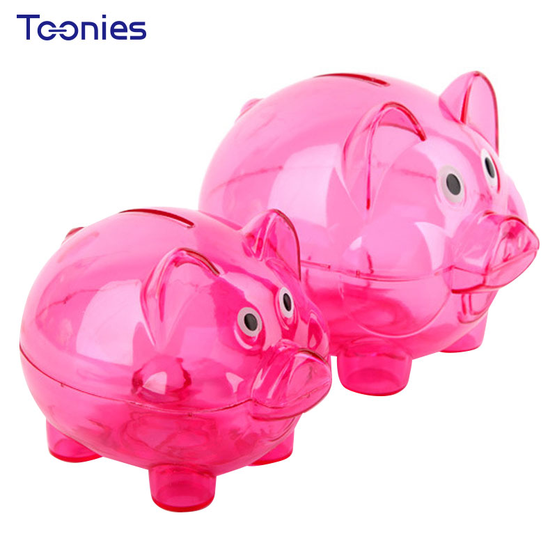Candy Colorful Christmas Gift Money Box Transparent Dolls Coin Boxes Children Toys Practical Compressive Pig Piggy Bank Ornament