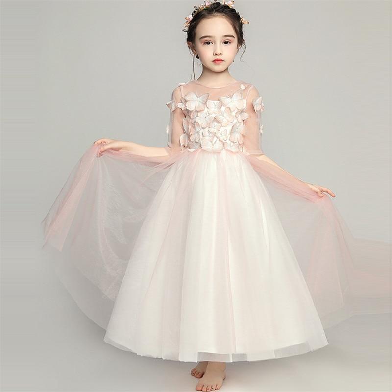 Kids Girls Fashion Embroidery Butterfly Design Birthday Wedding Party Long Ball Gown Dress Children Teens Evening Host Dress