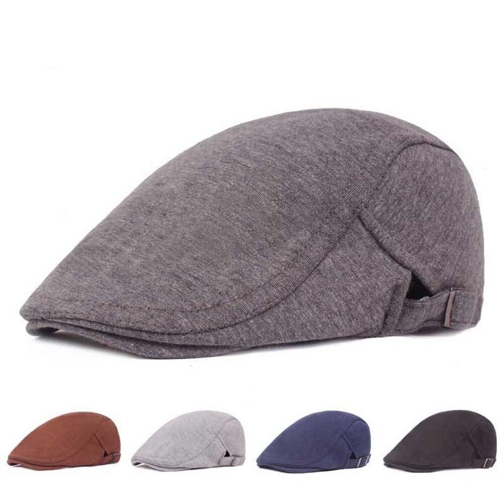 New Vintage Beret Hats For Men Winter Felt Solid Newsboy Cap With Elastic Women Classic Ivy Flatcap Hat Visor Buckle
