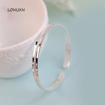 Authentic 100% 925 Sterling Silver bracelet female fine smooth simple Crystal scrub Size adjustable handmade women jewelry