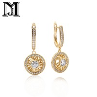JiaMU new 585 rose gold hollow round natural cubic zirconia pendant lady wedding party earrings
