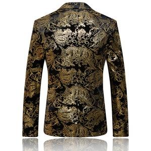 Image 4 - Paisley แต่งงานชุดผู้ชายสีดำทองดอกไม้ Tuxedo ผู้ชาย SLIM FIT บุรุษชุดสูทเครื่องแต่งกายแจ็คเก็ต/ กางเกงผู้ชาย XL