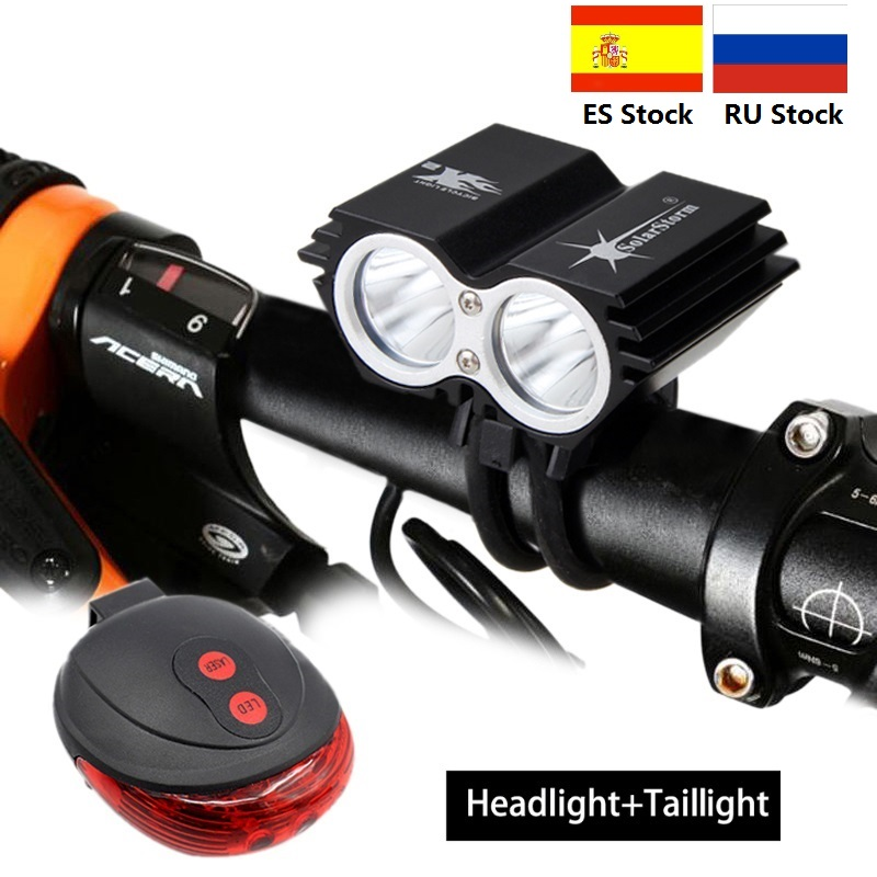 SolarStorm 1600 Lumens 2x XM-L T6 LED Front Cycling Light Bike Light Headlight Lamp With Rechargeable 18650 Battery+Charger
