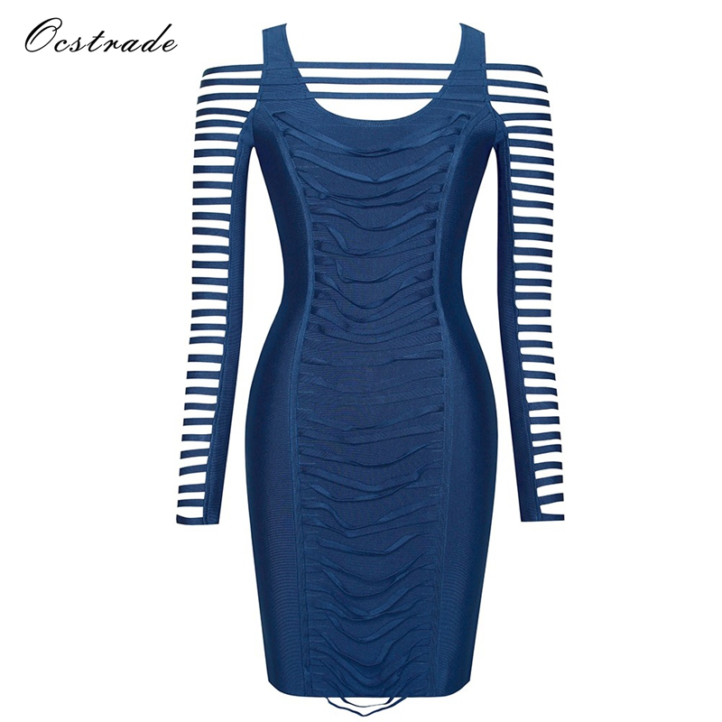 Ocstrade New Arrival Women Bandage Dress 2019 Sexy Fashion Ruched Detail Cut Out Blue Long Sleeve
