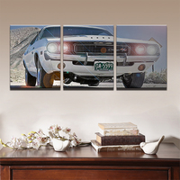 HD Frame Canvas Prints Paintings The Home Decoration 3 Pieces Black Luxury Retro Vintage Car Pictures For Living Wall Art Room