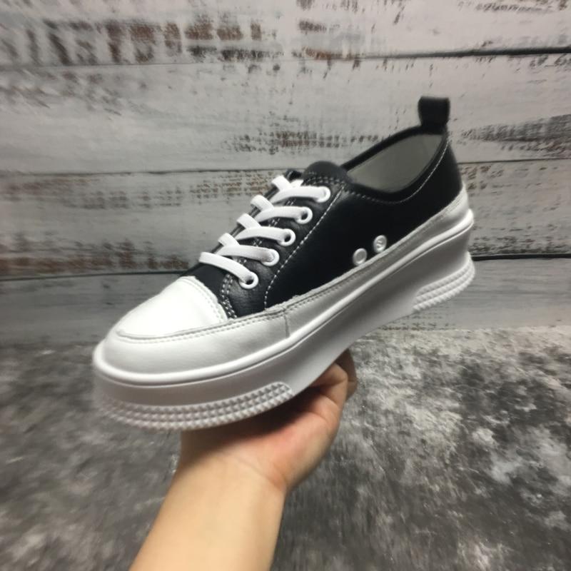 Zapatos Le up Black white 35 Donna 39 Di Primavera Pelle Lace In Donne Tessuto Per Mujer autunno Scarpe Da Vera Tennis Taglia 6afwEU