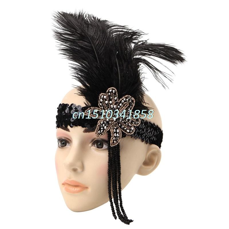 Indian Sequin Feather Headband Flapper Handmade Headpiece Hair Rope Headdress
