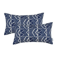 2PCS CaliTime Decorative Pillows Shell Cushion Cover Home Sofa Geometric 12 X 20(30cm 50cm)
