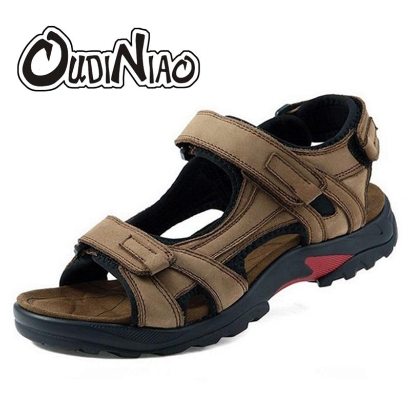 OUDINIAO Mens Shoes Genuine Leather Designer Sandals Summer Men Shoes Beach Breathable Hook Loop Gladiator Sandals Men Big Sizes