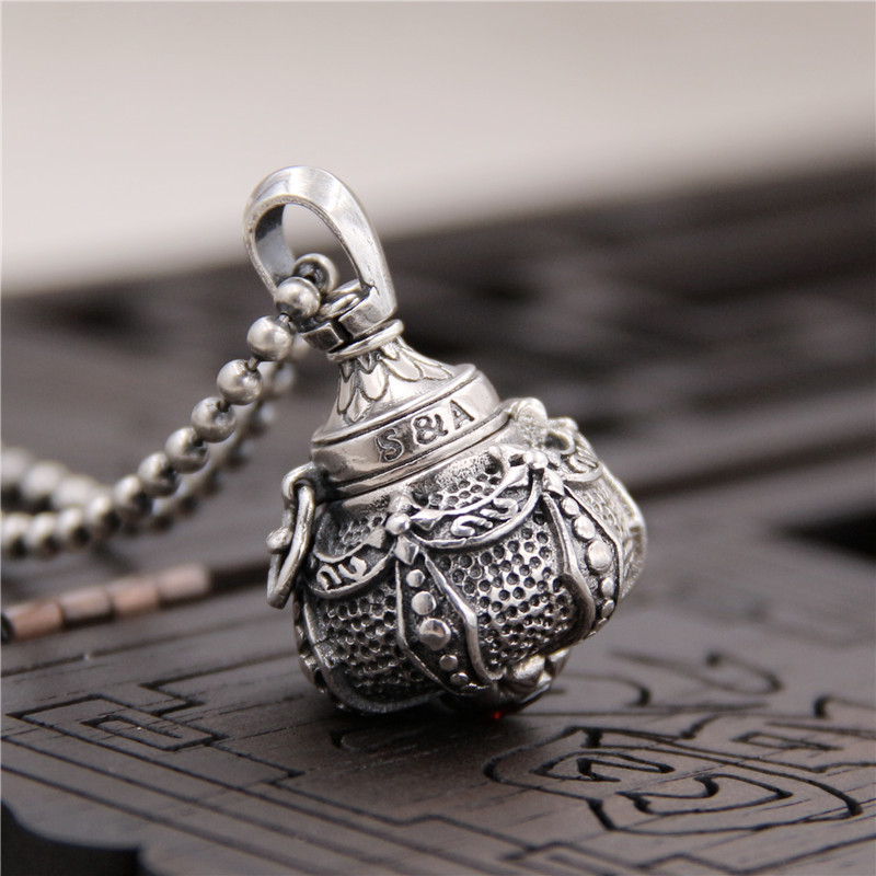 Silverware S925 Sterling Silver Thai Silver Retro Pendant Shang Shang Lao Jun Alchemy Furnace Ga Cang Bottle Pendant