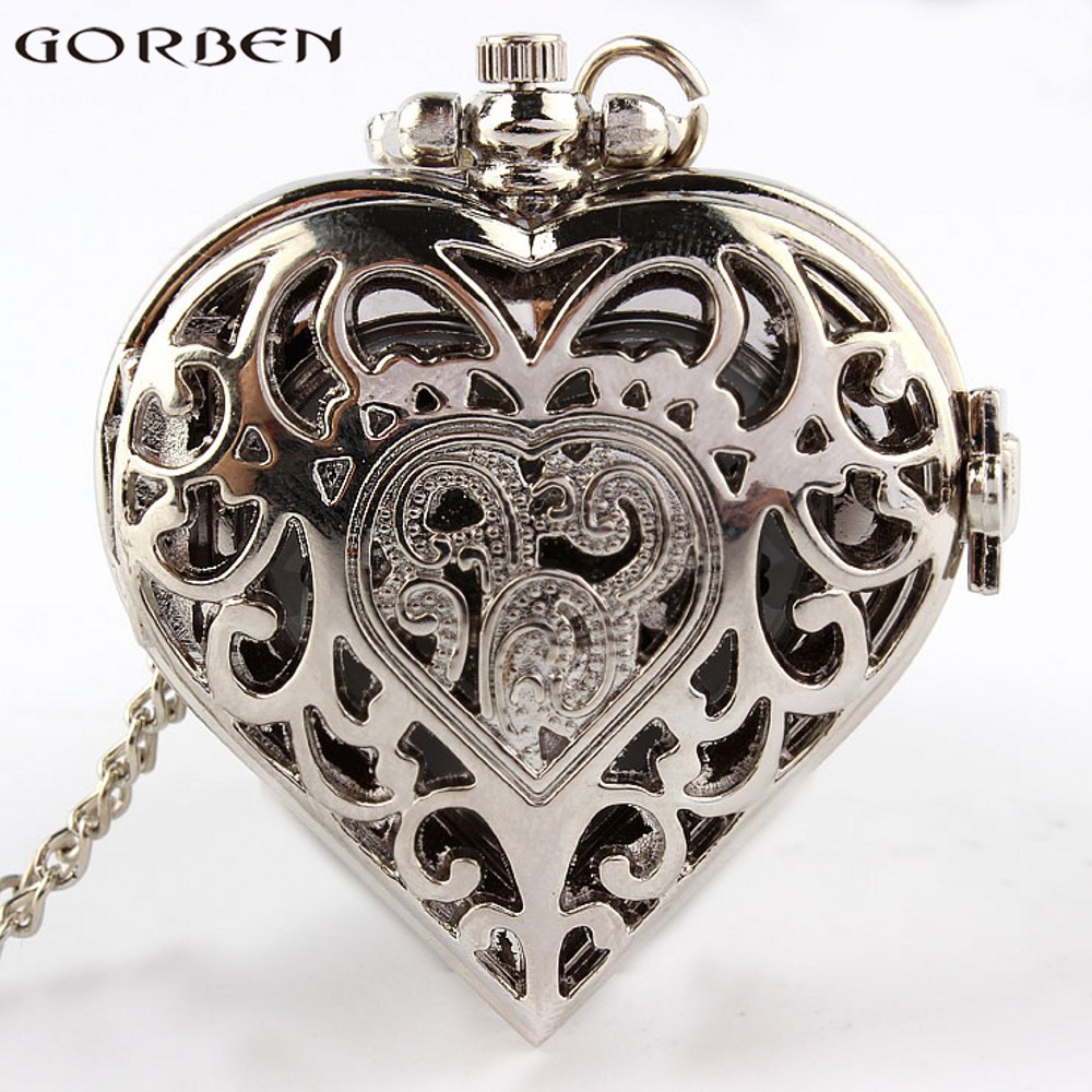 Silver Hollow Heart-shaped Quartz Pocket Watch Luxury New Fashion Pocket Watch With Long Necklace Chain Men Women Watches Gifts