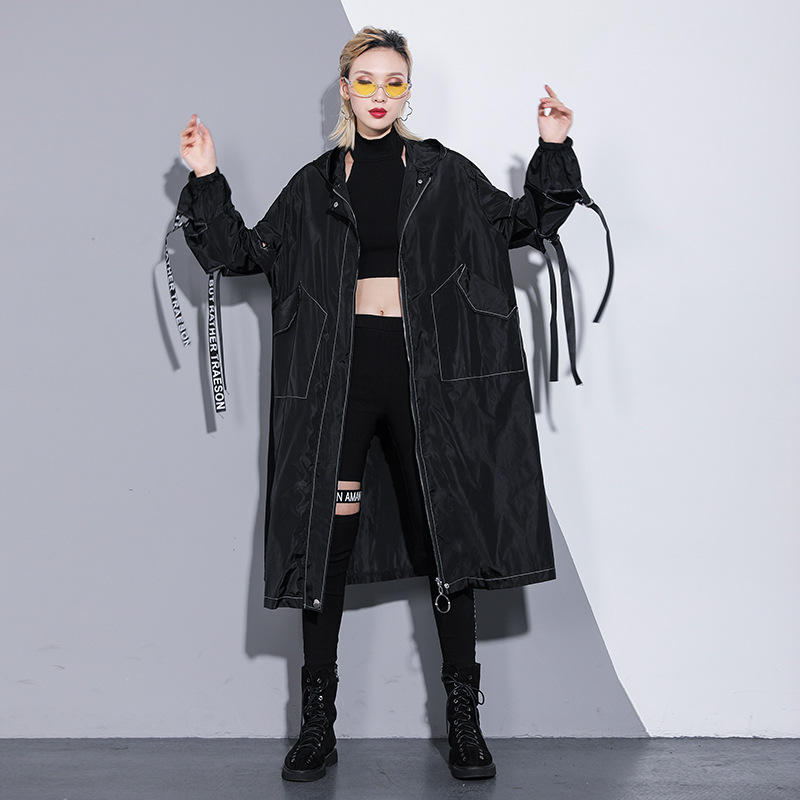 Johnature 2019 Spring Hooded Collar Hollow Out Zipper Letter Cartoon Print   Trench   Women New Streetwear Long Women   Trench