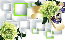 3d wallpaper flower Green roses 3D stereoscopic TV backdrop 3d mural wallpaper Home Decoration(China)