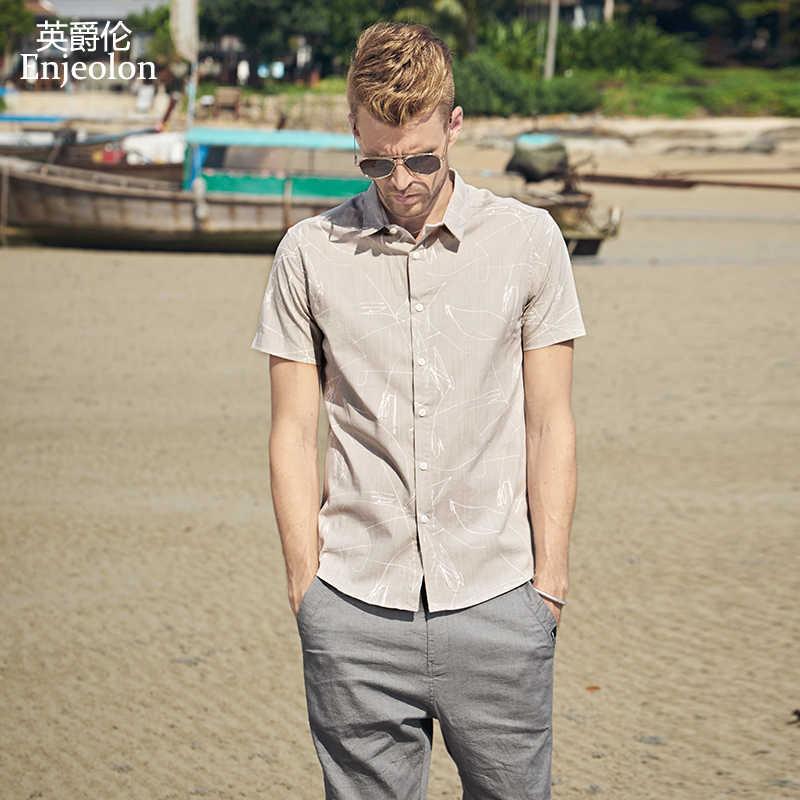 ed5b39802ecb72e Enjeolon брендовая летняя рубашка с короткими рукавами мужские с принтом  рубашка хлопковая мужская повседневная одежда для