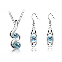 2014 New Arrival Fashion Silver Plated Austrian Crystal Zircon Necklace/Drop Earrings African Jewelry Set E-shine Jewelry T2055