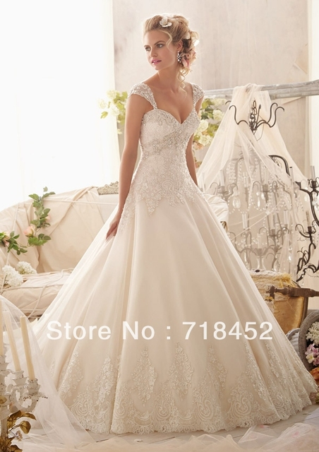 Princess Wedding Dress Ball Gown Cap Sleeve Detachable Lace Bodice Sweetheart Off The Shoulder Floor Length