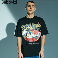 Bebovizi Brand Streetwear Men Hip Hop Loose Tshirts 2019 Japan Style Wave Noodles Printed Short Sleeve T Shirts Oversized Tees