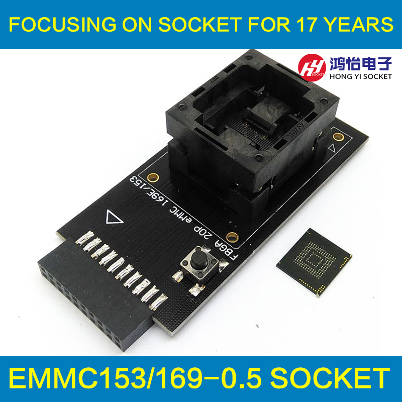 eMMC test Socket to 20pin universal port for nand flash testing for BGA 169 and BGA 153 reader size 14x18mm for data recovery new test seat turn the programmer bga socket 169 or 153 burning seat test fixture