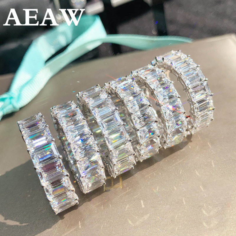 Solid 14K 585 Yellow White Gold Emerald 5.5-7.5ctw Moissanite Enternity Full Diamond Band Df Color For Women