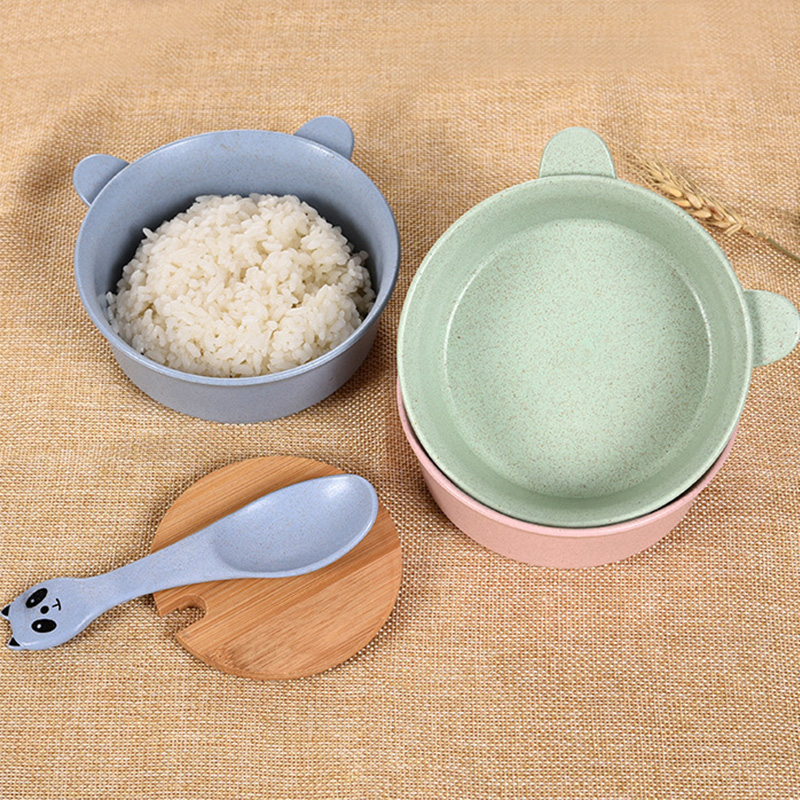 News 1Set Kids Wheat Straw Bowl Children Cartoon Tableware Set Baby Dinner Plate Baby Training Bowl Spoon Fork for Kids in Dinnerware Sets from Home Garden