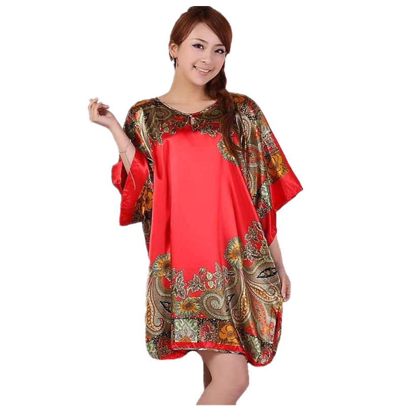 Plus Size Women's Faux Silk Robe Bath Gown Nightgown Pijama Mujer Summer Sleepshirts New Style Sleepwear Printed Zh597S